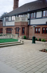 cast stone paving and balustrade