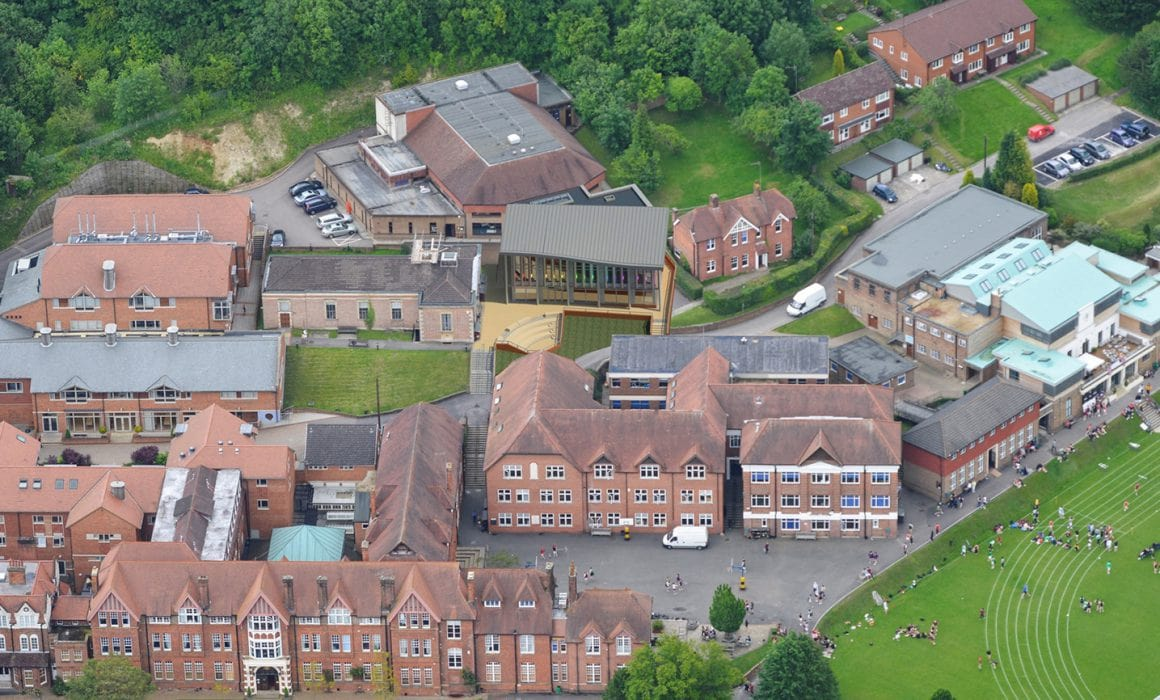 Birds eye view of caterham college