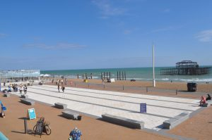 The plaza at the Brighton i360 tower.